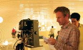 Spike Jonze on the set of Her.